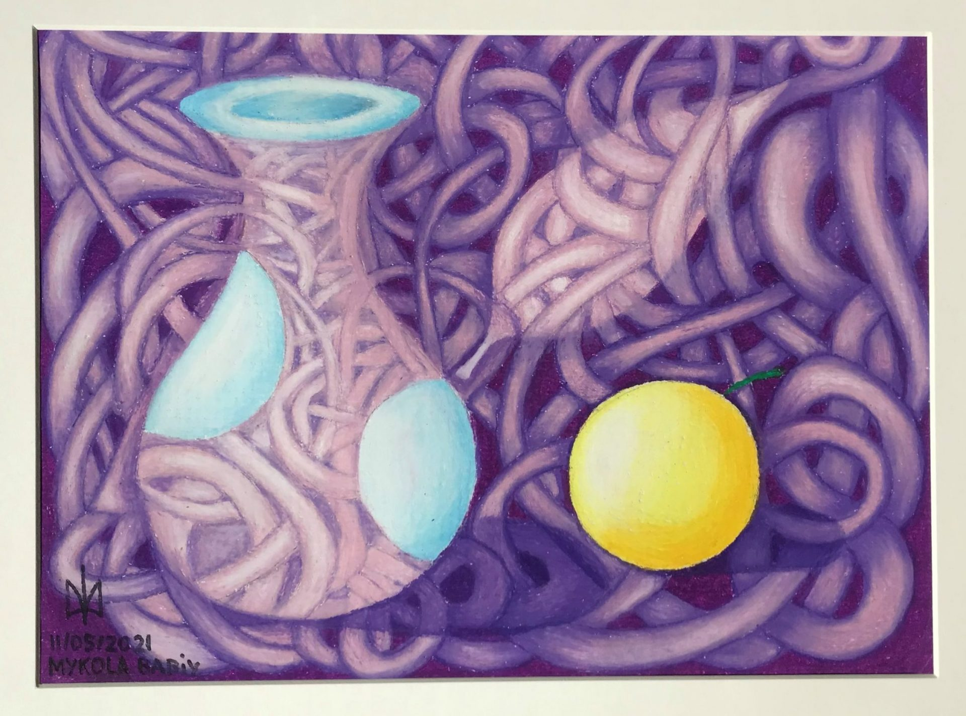 Vase with lemon. Oil pastels. Mykola Babiy.