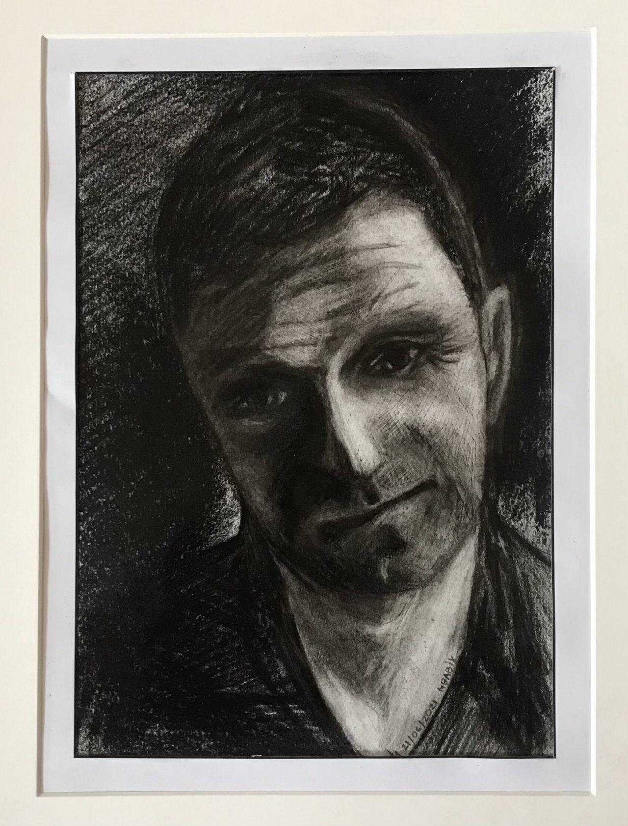 Mykola Babiy. Self-portrait. Charcoal drawing. Practicing.