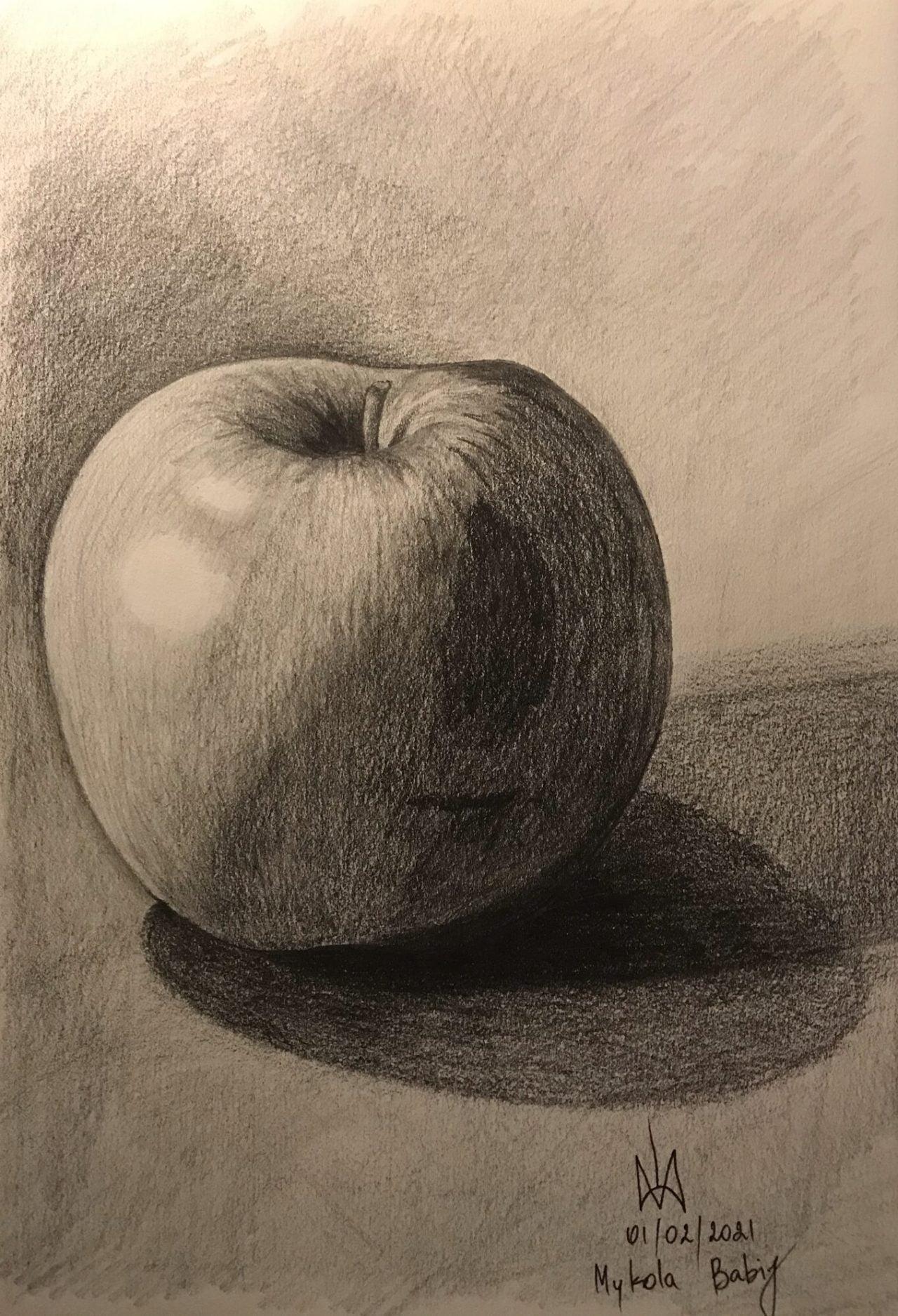 Apple. Pencil drawing