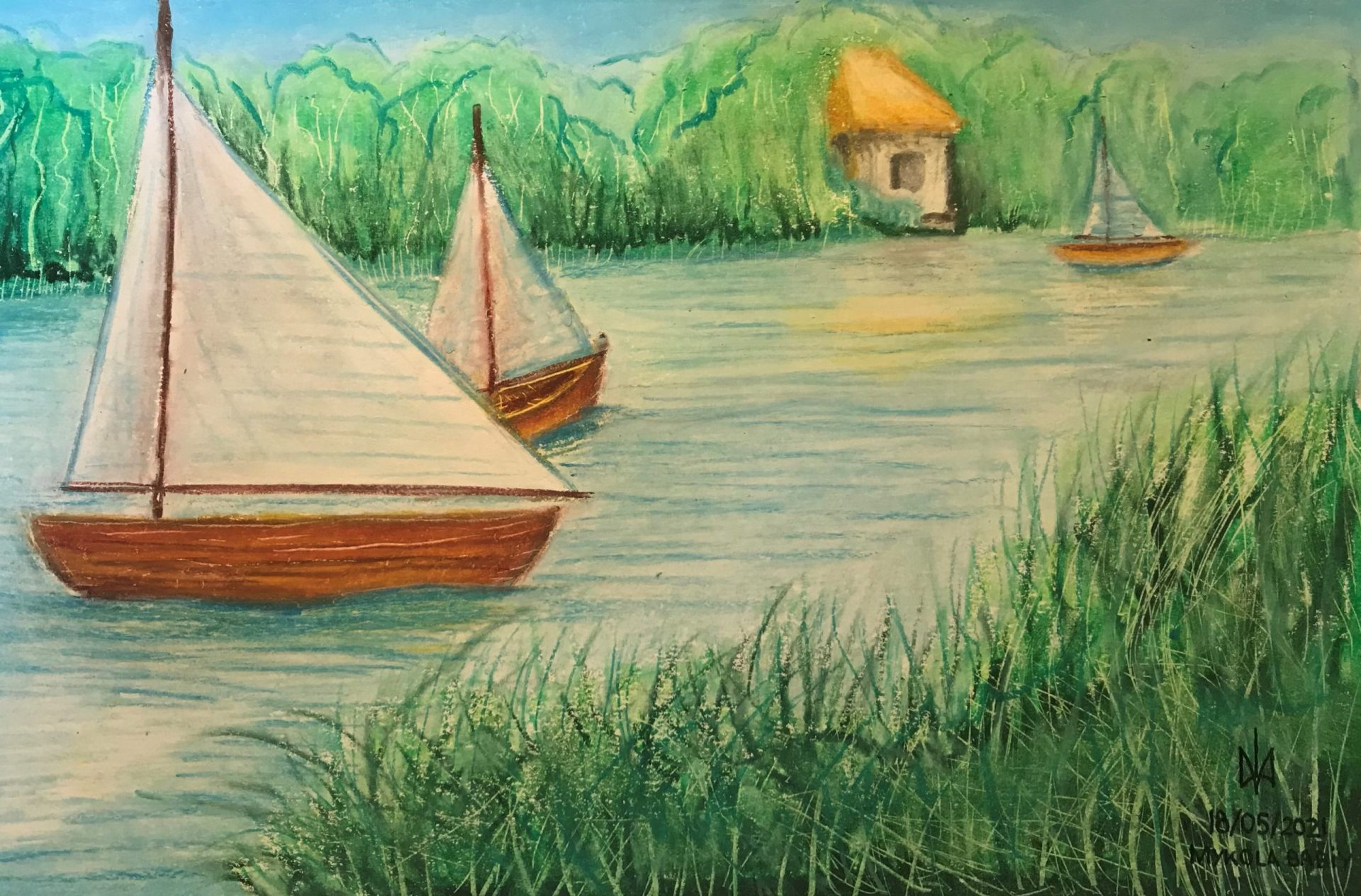 Lake. Colour pencils. Practice