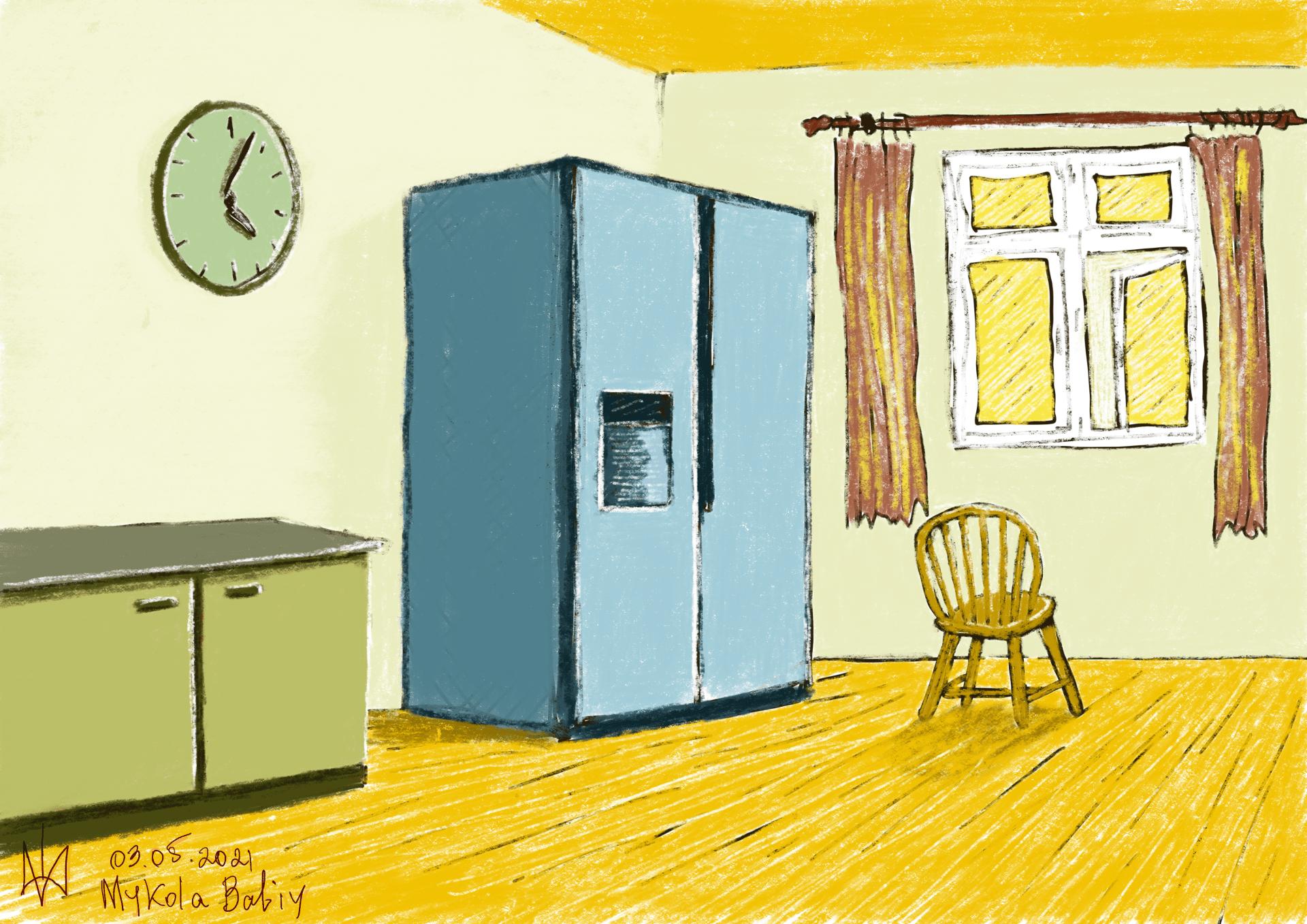 The Room. Oil pastels. Procreate. Practice