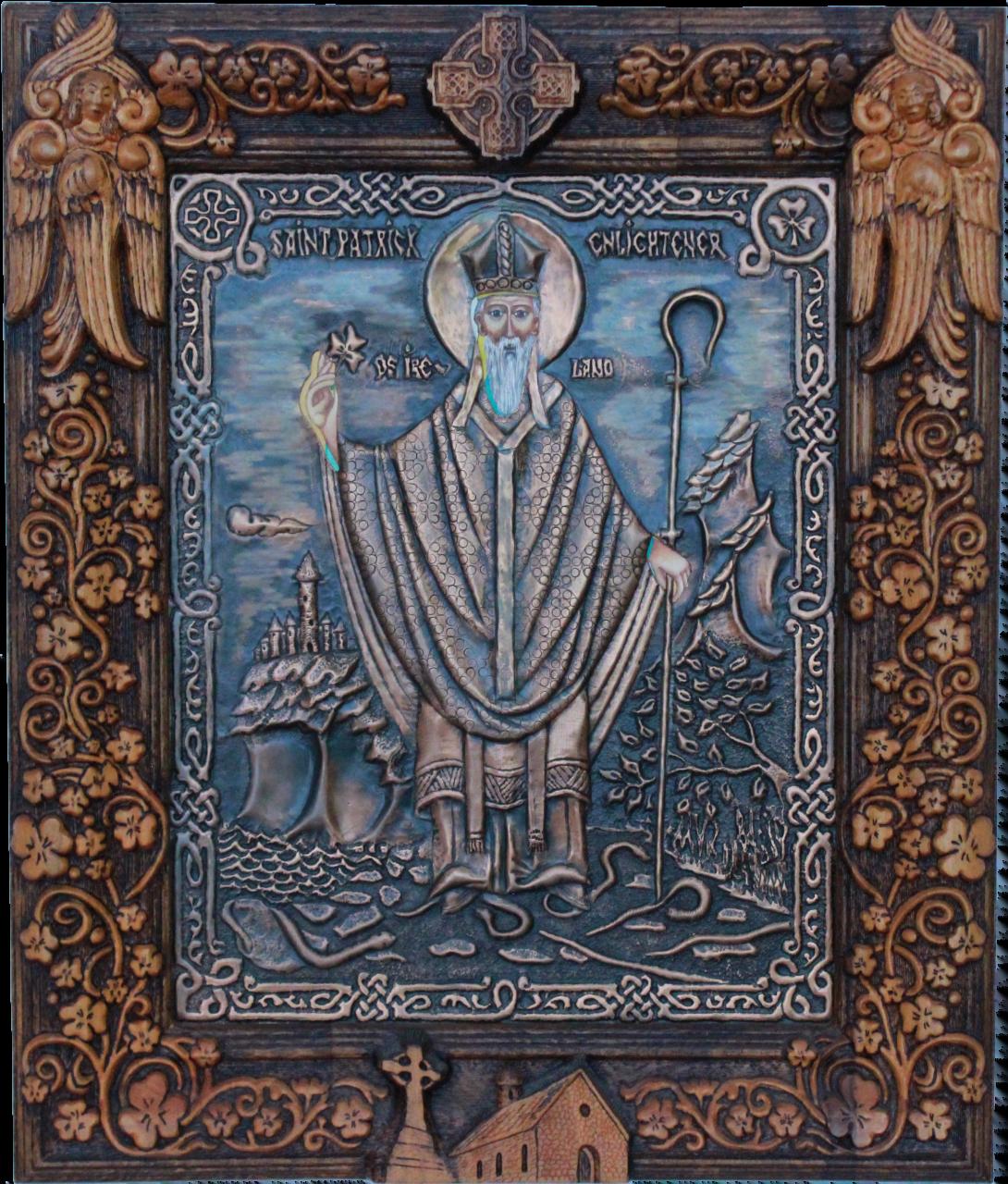 St Patrick. Copper. Oil paint. Handmade frame.