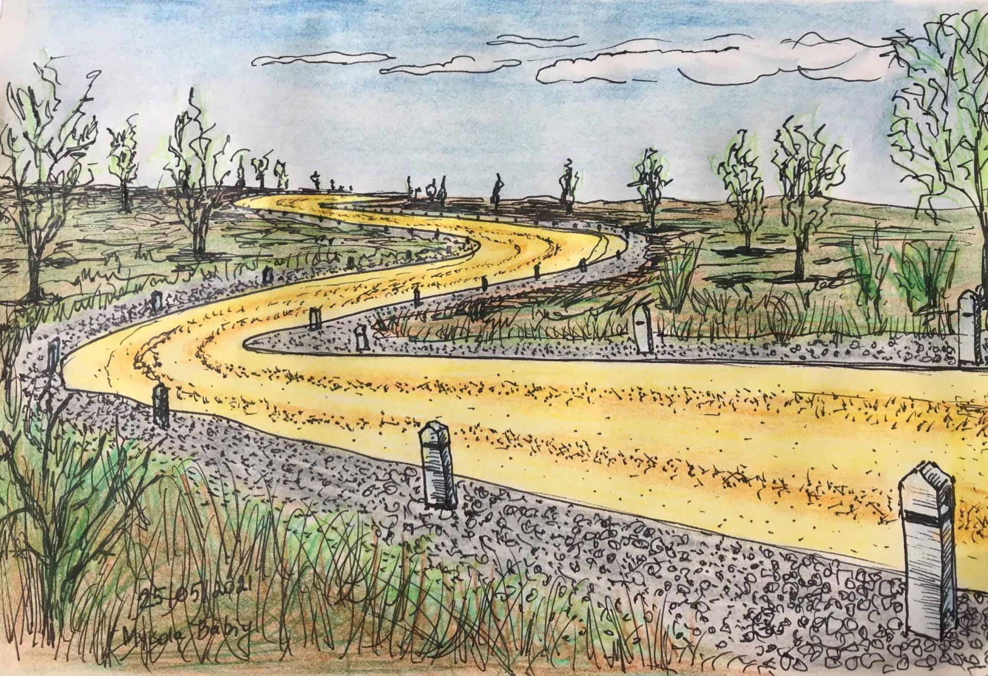 The road to the future. Marker plus colour pencils