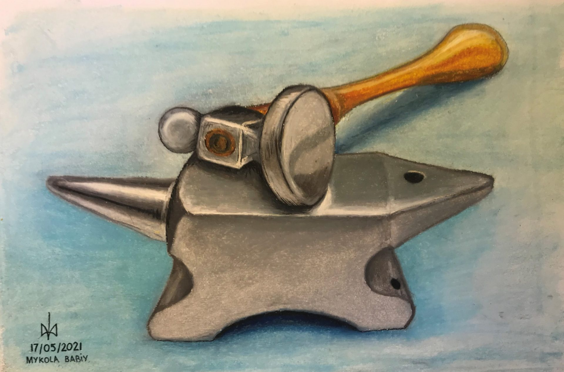 Chasing & Repousse tools. Oil pastels.