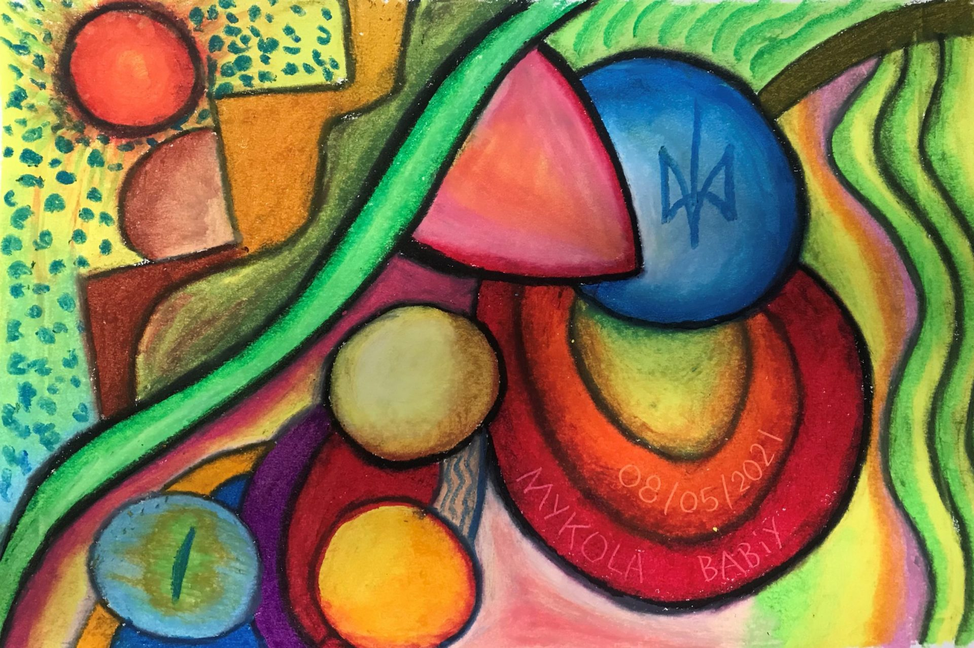 Abstraction. Oil pastels. Practice