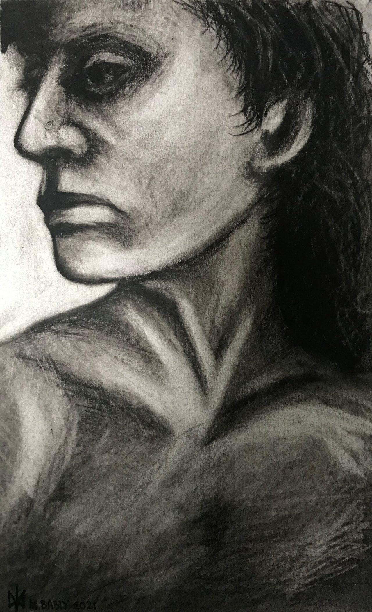 Women's head drawing. Charcoal drawing. Practicing. Mykola Babiy