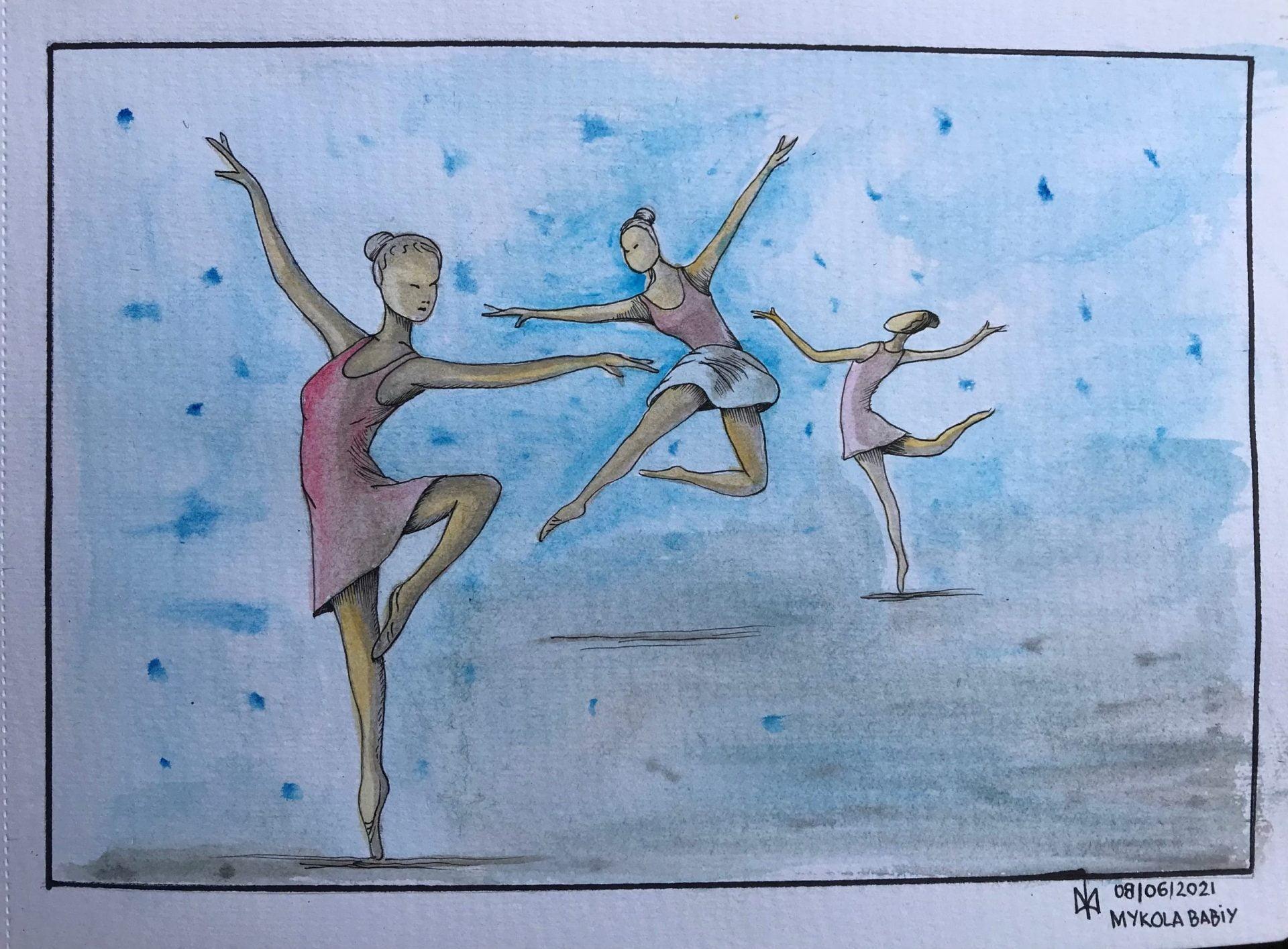 Dancers. Watercolours. Practice.
