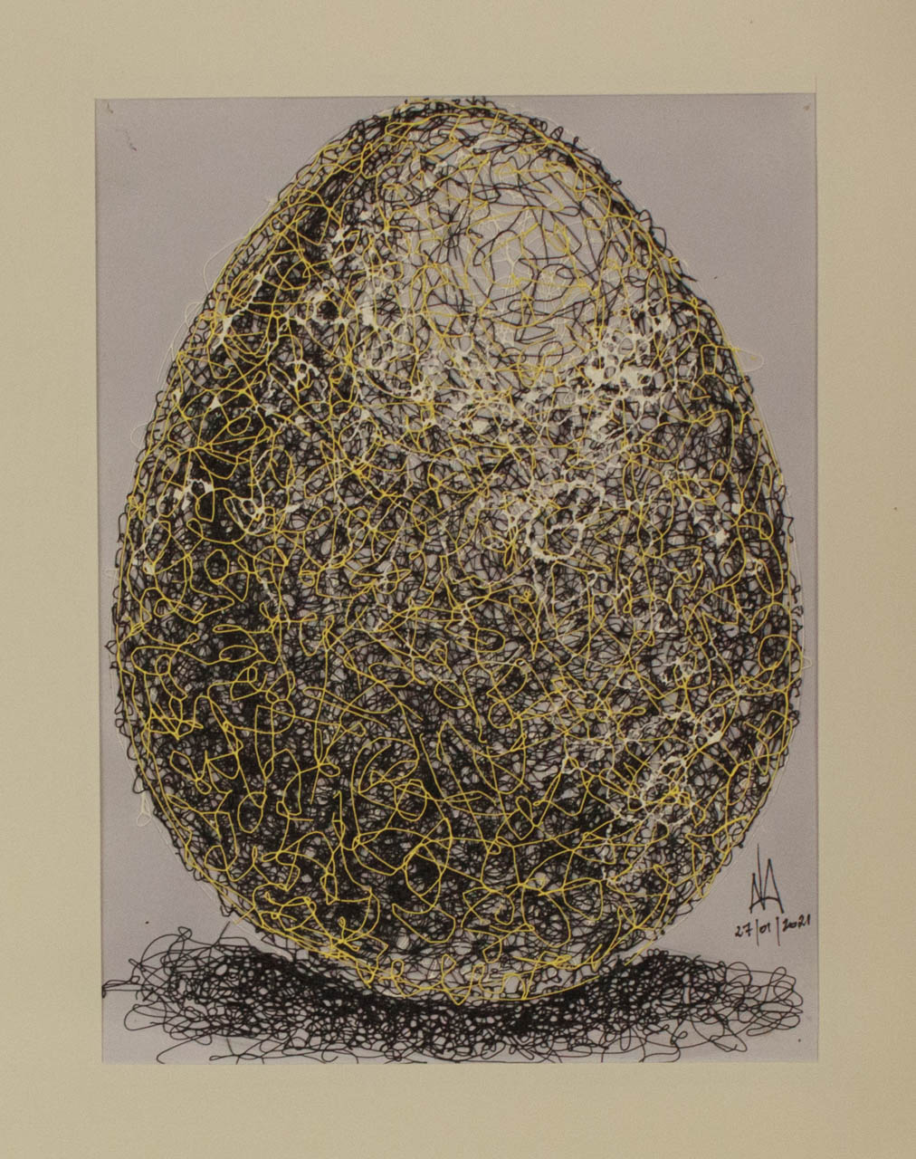 Egg in a new style on the canvas