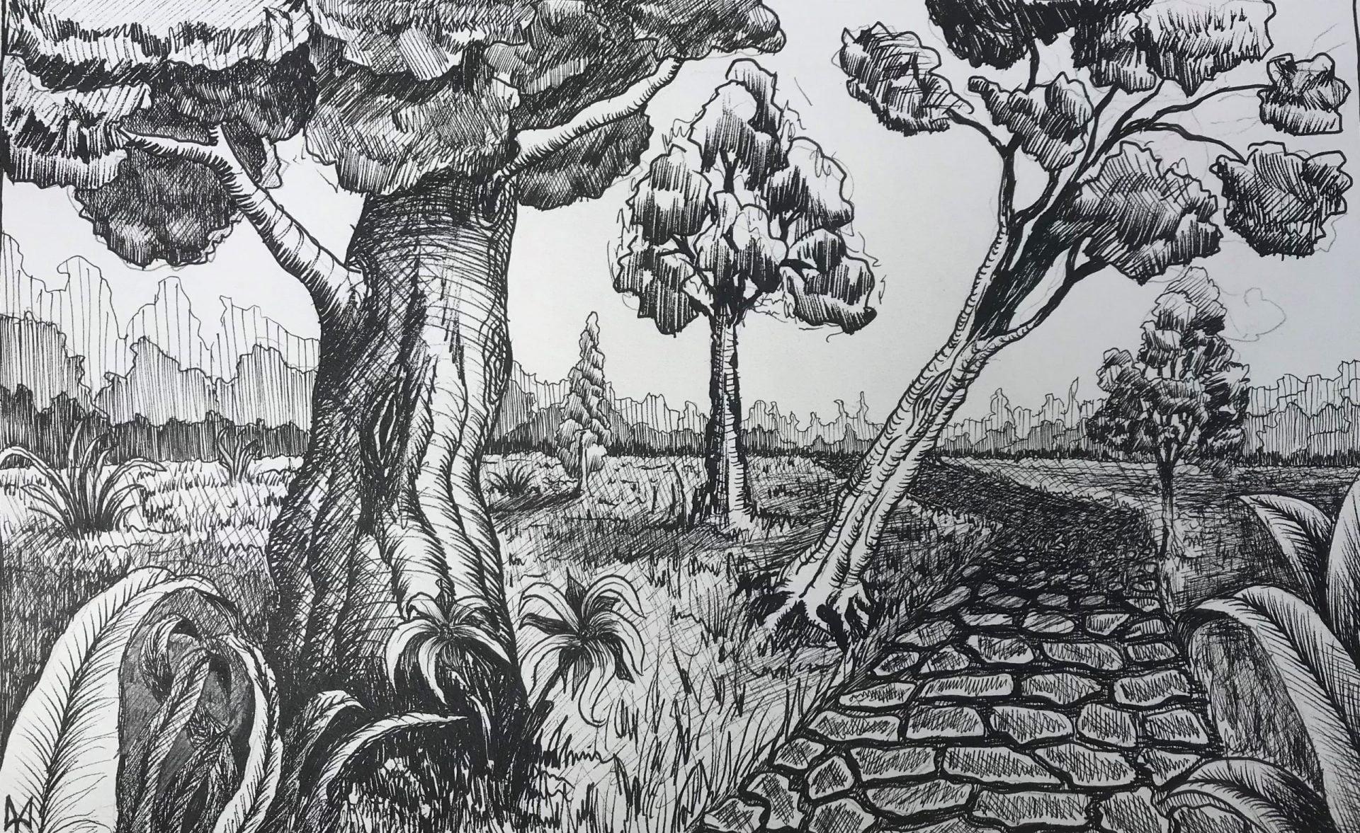 Forest. Pencil and ink pen. Mykola Babiy