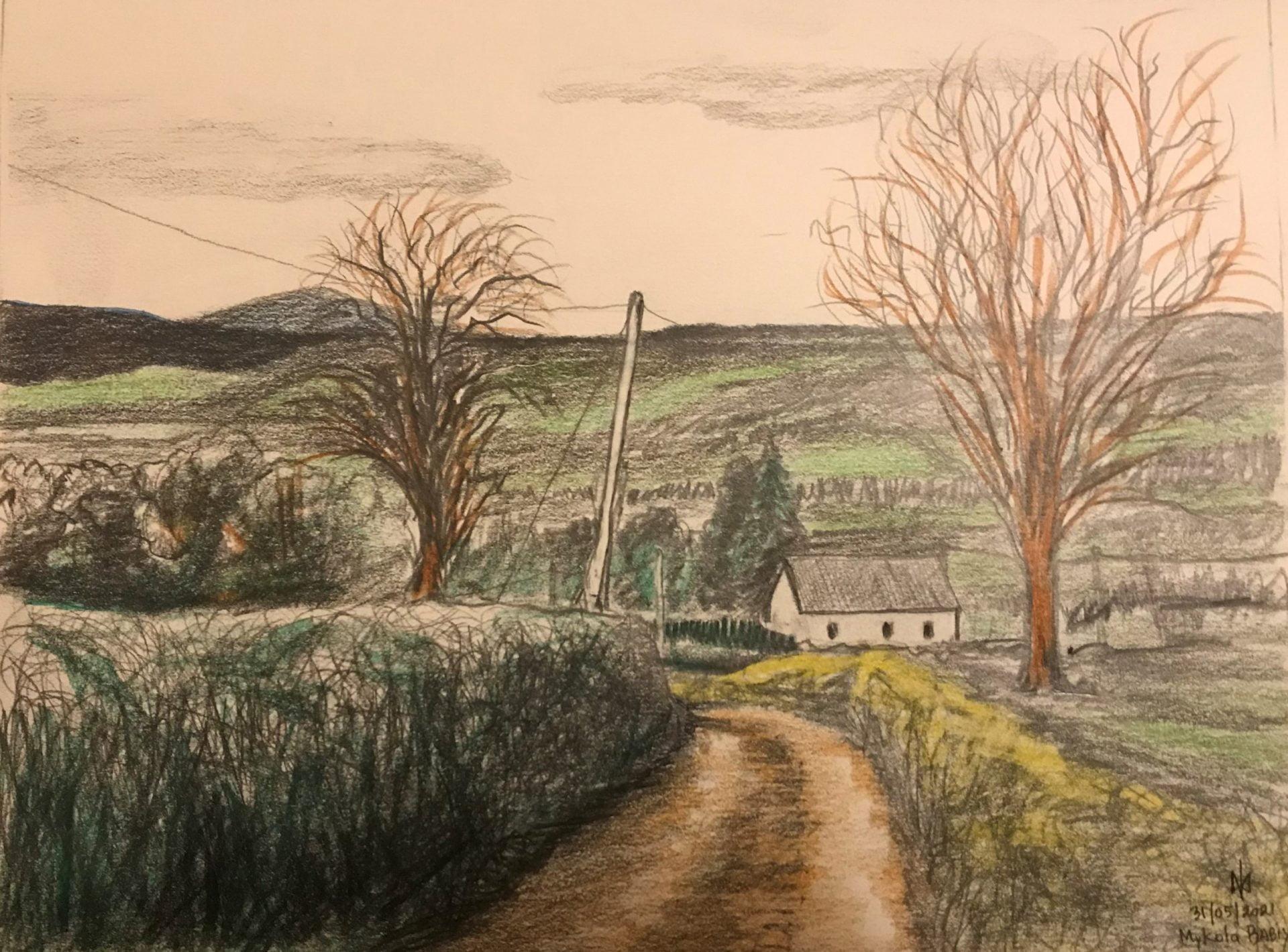 Old Castle road, Ireland. Colour pencils. Practice. Mykola Babiy.