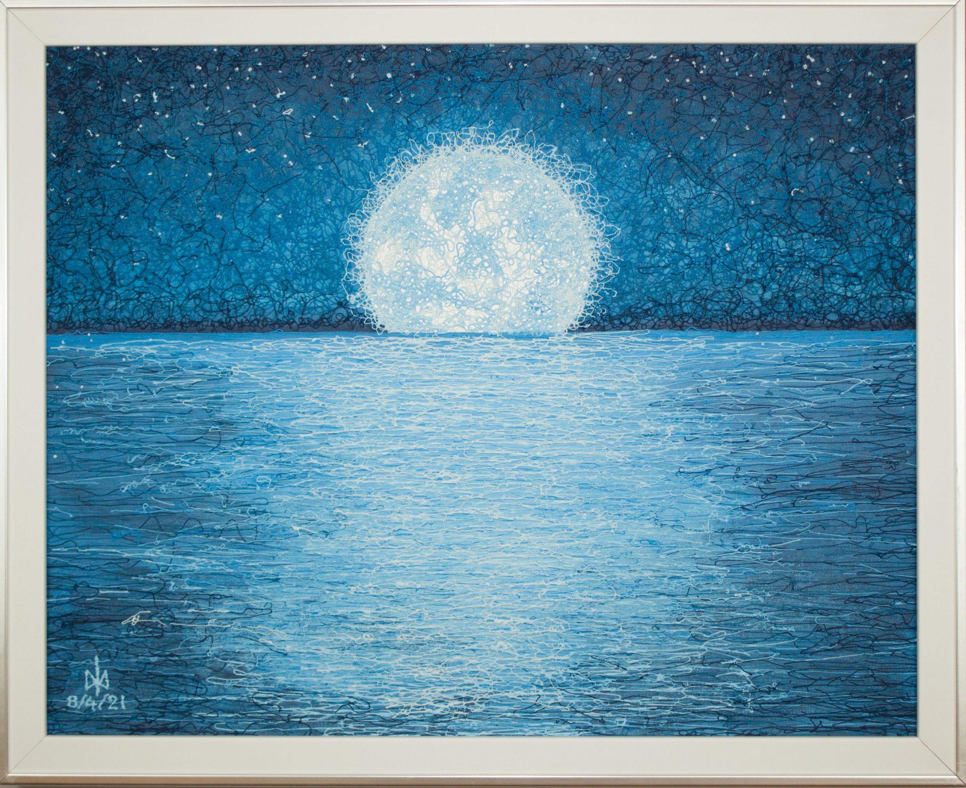 Moonglade. Plyontanism. Acrylic. Canvas board. Framed. 50 X 40 cm